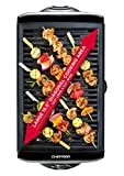 Chefman Electric Smokeless Indoor Grill - Griddle w/ Non-Stick Cooking Surface & Adjustable Temperature Knob from Warm to Sear for Customized BBQ Grilling, Dishwasher Safe Removable Drip Tray, Black