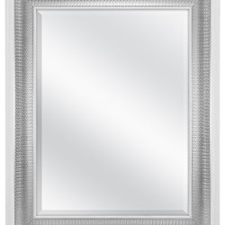 MCS 18×24 Inch Beveled Wall Mirror White and Woven Silver Finish, 24.5 x 30.5 Inch