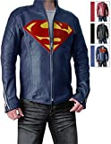 Slim Fit Super Blue Leather Jacket for Boys - Synthetic Leather (M)