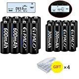 Palo 1.2V NiMH AA and AAA Rechargeable Batteries Combo, 8-Pack 600mAh AA Cells and 8-Pack 300mAH AAA Cells