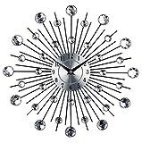 Tiiny Vintage Metal Art Crystal Sunburst Wall Clock Luxury Diamond Large Morden Wall Clock Clock Design Home Decor