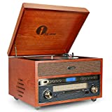 1byone Nostalgic Wooden Turntable Wireless Vinyl Record Player with AM/FM, CD, MP3 Recording to USB, AUX Input for Smartphones & Tablets and RCA Output
