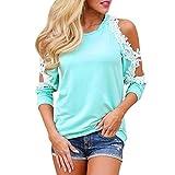 Vanvler Women Long Sleeve Tops Clearance Casual Loose Shirt,Ladies { Off Shoulder Blouse } Lace Casual Shirt (XL, Blue)