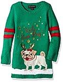 Blizzard Bay Girls' Little Bah-Hum Pug Christmas Sweater, Green Combo, XL 6X