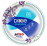 """Dixie Everyday Disposable Paper Plates, 8-1/2"""" Lunch or Dinner Size, Printed, 90 Count"""