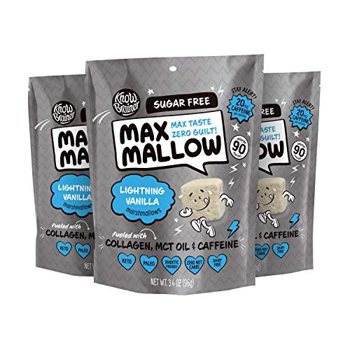 Know Brainer Max Mallow Lightning Vanilla | Guilt-Free & Zero Sugar Marshmallow - Low Carb, Gluten Free & Ketogenic | Marshmallow Fueled with Collagen, MCT Oil & caffeine| Pack of 3 (9.9oz) 1