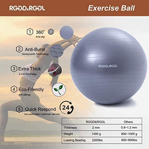 RGGD&RGGL Yoga Ball Chair, Exercise Ball with Leak-Proof Design, Stability Ring&2 Adjustable Resistance Bands for Any Fitness Level, 1.5 Times Thicker Swiss Ball for Home&Gym&Office&Pregnancy (65 cm) 6