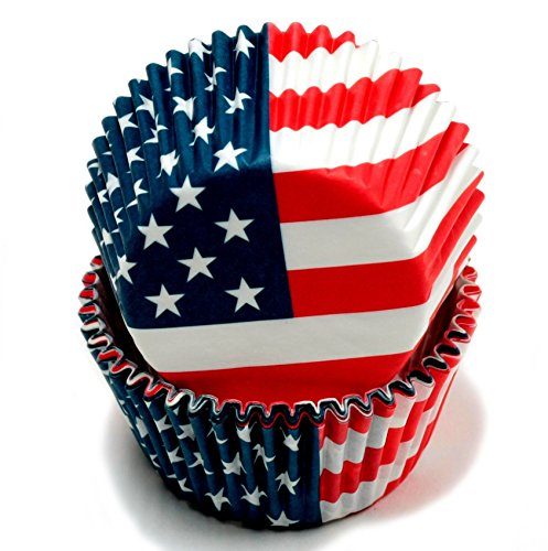 Chef Craft 50 Count Cupcake Liners, American Flag