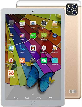 S11 Pro 10.1 inch Android Tablet, 4Core/WiFi Tablet for Study and Game, Dual SIM Cards and Dual Standby Supportive, Bluetooth, Camera, GPS/WPS Office, IPS HD Display, 2020 Release_Golden