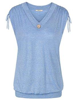 c95a704c Bebonnie Women's Sleeveless Shoulder Drawstring Shirring T Shirt Tank Tops