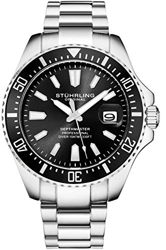Stuhrling Original Mens Black Divers Watch