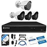 Camius 8MP Home Security Camera System 4K 8 Channel DVR with 2TB Hard Drive,4 pcs Wired BNC Surveillance Outdoor Security Cameras(3X 5MP,1x 4K),Starlight Night Vision,PC/Mac, Browser, App View