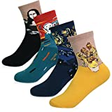 KONY Women's 4 Pairs Funny Famous Oil Painting Art Printed Casual Crew Socks, Artist Fashion Socks Size 6-9 (Famous Painting - 4 pairs)