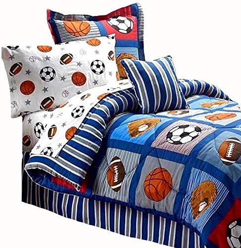 BOYS SPORTS PATCH Football Basketball Soccer Balls Baseball Blue REVERSIBLE Comforter Set (FULL SIZE 8pc Bed In A Bag)