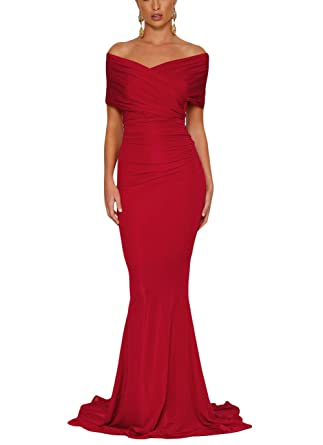 adb44a41055 XAKALAKA Off Shoulder Ruched Long Formal Evening Mermaid Wedding Gowns size  XL (Red)