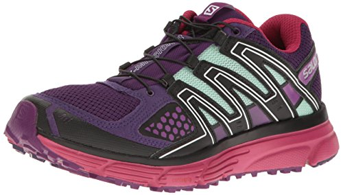 Salomon Women's X-Mission 3 W Trail Running Shoe, Teal Blue/Granny Green/Passion Purple, 8 B US