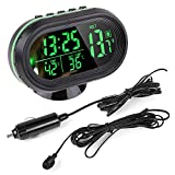 Pevor Car 12V LCD Luminous Clock Digital Thermometer Temperature Gauge Voltmeter Alarm Monitor