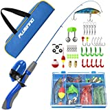 PLUSINNO Kids Fishing Pole,Portable Telescopic Fishing Rod and Reel Full Kits, Spincast Fishing Pole for Kids, Boy, Youth (Blue Handle with Bag, 120CM 47.24IN)