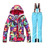 HOTIAN Women's High Windproof Technology Colorful Snowboard Ski Jacket Pants Set