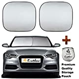 EcoNour Premium Car Windshield Sunshade with Easy Read Size Chart-Universal Fit for Car, SUV, Van,Truck-. 210T Nylon Material- Heat and Sun Reflector