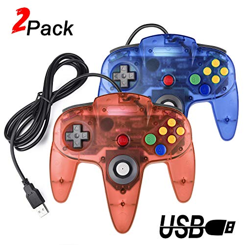 2-Packs-USB-Retro-Controllers-for-N64-Gaming-miadore-PC-Classic-N64-Game-Pad-Joypad-for-Windows-PC-MAC-Raspberry-Pi-Clear-Blue-Red