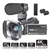 Video Camera Camcorder 4K Ultra HD VideoSky YouTube Vlogging Camera 48.0MP 3.0' Touch Screen IR Night Vision 16X Digital Zoom WiFi Recorder with Wide Angle Lens, Microphone, Remote Control, Lens Hood