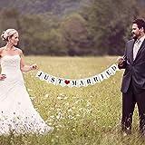 VANVENE Vintage Just Married Banner Wedding Bunting Photo Booth Props Signs Garland Bridal Shower Decoration, White