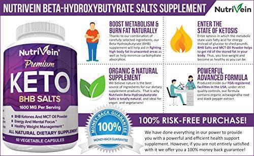 Nutrivein Keto Diet Pills 1600mg - Advanced Ketogenic Diet Supplement - BHB Salts Exogenous Ketones Capsules - Effective Ketosis Best Keto Diet, Mental Focus and Energy, 60 Capsules 4
