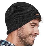 LETHMIK Fleece Lined Beanie Hat Mens Winter Solid Color Warm Knit Ski Skull Cap Black
