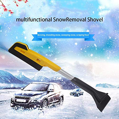 blue--net Scratch-Free Snow Brush, Multifunctional Snow Removal Shovel Car Glass Scraping Brush Ice Scraper for Car with EVA Cotton Foam Grip