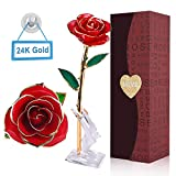 YUNDOO Gold Rose Forever Rose - 24 Gold Dipped Roses Forever Gifts for Her Anniversary,Valentines Day,Christmas,Birthday,Mothers Day(Red Rose and Moon Crystal Stand)
