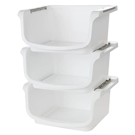Amazon Com Home X Small Nesting And Stackable Storage Bins Set Of 3 Storage Area 10l X 8w X 5 75h Kitchen Dining