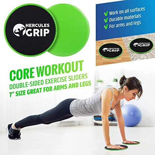 HerculesGrip Ab Wheel Roller, Adjustable Jump Rope, 2x Dual Sided Gliding Discs & 3x Loop Resistance Bands 4-In-1 Home Gym Total Body Workout Equipment Set -For Core, Cardio, Abs, Legs & Arms Training 5
