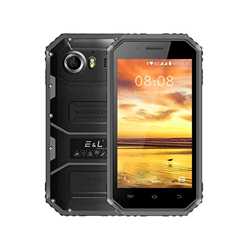 E&L W6 4G LTE Rugged Smartphone Unlocked IP68 Waterproof Dustproof Shockproof 8GB/1GB Android 6.0 Camera 8MP Military Grade GSM Cellphone (Gray)