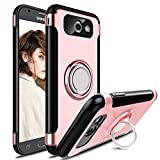 Galaxy J7 2017 Case, J7 Sky Pro Case, J7 Perx Case, Elegant Choise Hybrid Dual Layer 360 Degree Rotating Ring Kickstand Protective Case with Magnetic Case Cover for Samsung J7 2017 (Pink)