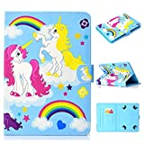 UGOcase Universal 7' Tablet Case, Ultra Slim Lightweight Multi Angle Stand Folio Cover with Pencil Holder for RCA Voyager, Fire 7/Oasis, Lenovo, Google and More 6.5-7.5' Tablet, Rainbow Unicorn