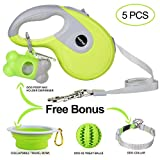 Nunbell Retractable Dog Leash,Heavy Duty 16ft Retracting Pet Leash with Free Bag Dispenser + Bonus Bowl + Dog Collar;Strong & Durable Nylon Tape/Ribbon | Dog IQ Treat Balls | Neon Green