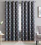 HLC.ME Arrow Printed Blackout Room Darkening Thermal Grommet Window Curtain Drape Panels for Bedroom - Set of 2 - Grey - 84' inch Long