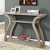 3-Tiered Curved Console Table with Storage - Hall Entryway Desk Organizer - Three Shelves Wooden Living Room Accent Tables Furniture - Dark Taupe Finish