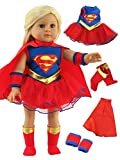 "Super Girl Costume - 18 Inch Doll Clothes - Fits 18"" American Girl Dolls, Madame Alexander, Our Generation, etc. Great Quality - Beautiful FabricsDOLL NOT INCLUDED"