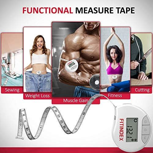 Smart Body Tape Measure, FITINDEX Bluetooth Digital Measuring Tape for Body, Soft Sewing Tape, with LED Monitor Display, Lock Pin, Retractable Button, Fitness Body Measurement via Phone App 6