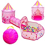 LOJETON 3pc Girls Princess Fairy Tale Castle Play Tent, Crawl Tunnel & Ball Pit with Basketball Hoop for Kids Toddlers, Indoor & Outdoor Playhouse