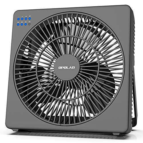OPOLAR 8 Inch Desk Fan with Timer, USB Operated, 5 Speeds Powerful Wind, Quiet Operation for Personal Office, Portable Table Hanging Fan for RV, Travel Camping (Adapter Included)