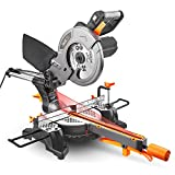 Miter Saw with Laser, TACKLIFE 12.5-Amp 4500RPM 8-1/2'' Single-Bevel Compound Sliding Miter Saw, 7.87' Stroke Length, 10feet (3M) Core Length, Lightweight Aluminum Guard - PMS01X