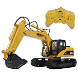 Hugine 15 Channel RC Excavator 2.4G Crawler Full-Function Remote Control Construction Tractor Digger Truck Toy (15 Channel)