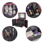 Olive-Makeup-Case-Organizer-with-Adjustable-Dividers-Portable-Spacious-Makeup-Train-Case-98-Makeup-Brush-Holder-Lockable-Cosmetic-Box-with-Mirror-Gift-for-Girl-and-Women-Rose-Pink