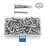 JUIDINTO 120 pcs Zinc Anchors with Screws Self Drywall Hollow Wall Metal Anchor with Tapping Stainless Steel Screws