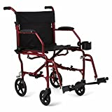 Medline Ultralight Transport Wheelchair with 19' Wide Seat, Folding Transport Chair with Permanent Desk-Length Arms, Red Frame