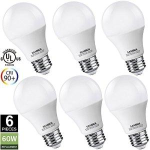 A19 LED Light Bulbs 60 Watt Equivalent, SANSUN 3000K (Soft White), E26 Socket, UL-Listed LED Globe Bulbs
