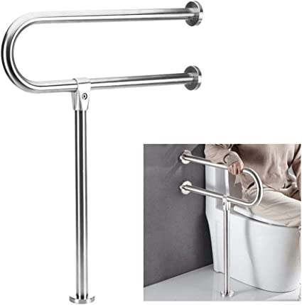 Amazon Com Handicap Grab Bars For Bathroom Toilet Safety Bars | Wall To Floor Handrail | Glass | Paint Colors | Staircase | Wrought Iron | Concrete